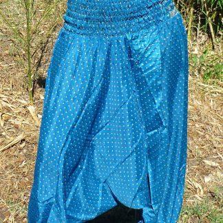 Pantalón seda tipo harem hecho en India estampado único y exclusivo