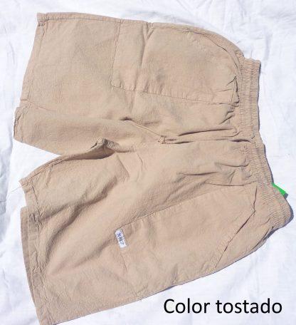 pantalon algodon corto tostado